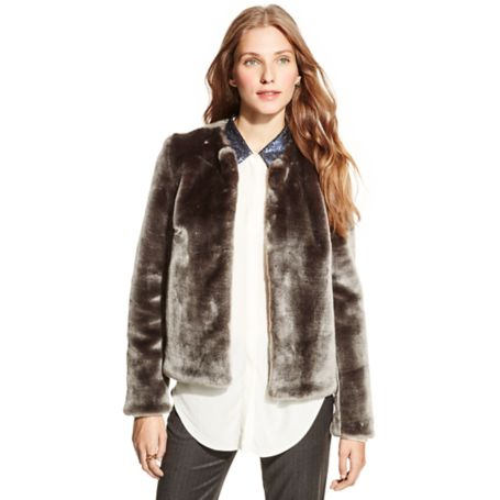 Tommy Hilfiger Faux Fur Collarless Jacket - Castlerock