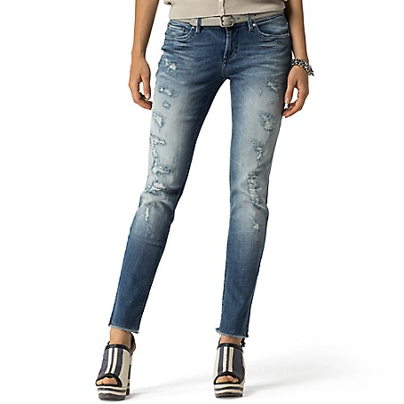 Tommy Hilfiger Destroyed Skinny Jeans - Matilda Tommy Hilfiger Women's Jean. Our Best-Selling Skinny Jean That's Been Put Through The Ringer (Literally) Then Ripped And Repaired To Look And Feel Like They've Got Stories To Tell. • Skinny Fit, Low Waist, Skinny From Hip To Hem.• 98% Cotton, 2% Elastane.• 5-Pocket Styling.• Machine Washable.• Imported.