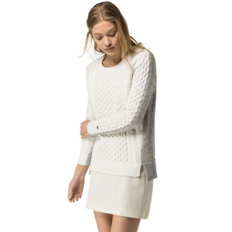 Tommy Hilfiger Cableknit Colorblock Sweater - Snow White / Light Grey Heather - M
