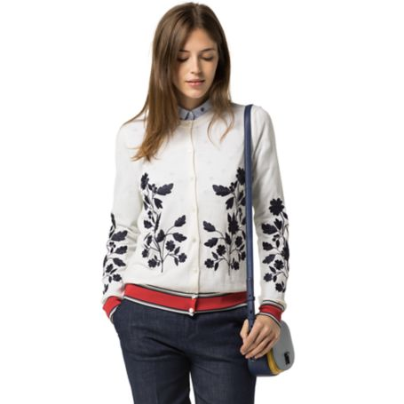 Tommy Hilfiger Wool Embroidered Cardigan - Snow White / Multi - Xl