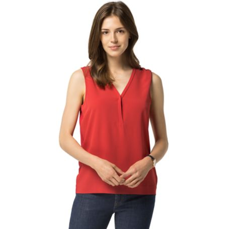 Tommy Hilfiger Sleeveless V-Neck Blouse - Crimson - Xl
