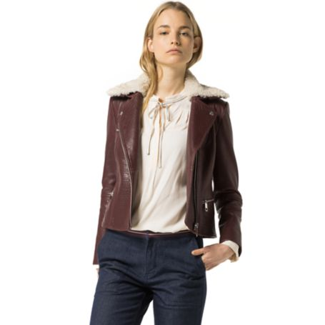 Tommy Hilfiger Vintage Biker Jacket - Cherry Wood
