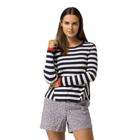 Tommy Hilfiger Stripe Tunic Sweater - Snow White / Peacoat / Fiery Red - L