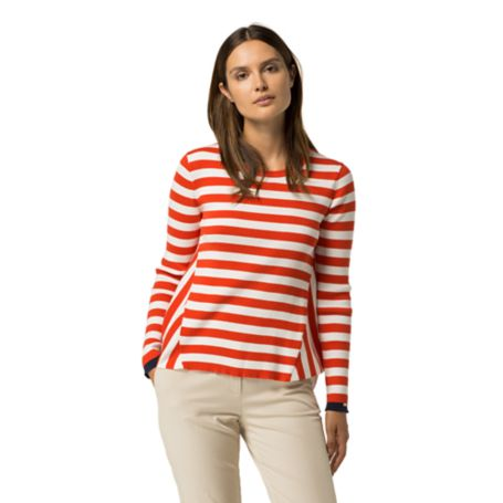 Tommy Hilfiger Stripe Tunic Sweater - Snow White / Peacoat / Fiery Red