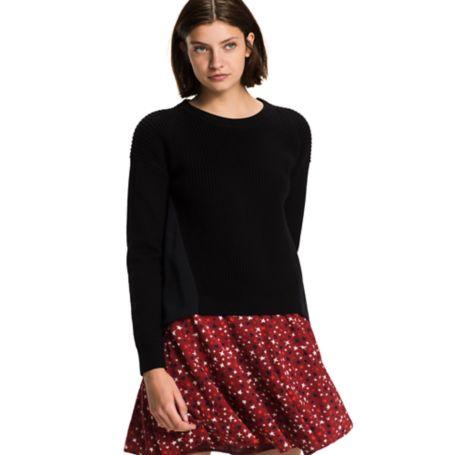 Tommy Hilfiger Crewneck Chiffon Sweater - Black Beauty