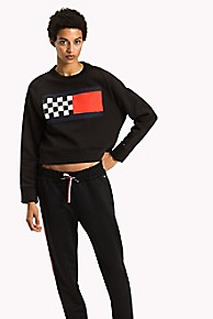 타미 힐피거 Tommy Hilfiger Checkered Flag Sweatshirt,BLACK BEAUTY