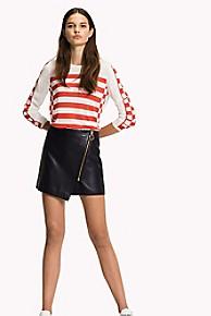 타미 힐피거 Tommy Hilfiger Leather Mini Skirt,MIDNIGHT