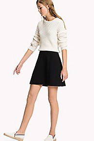 타미 힐피거 Tommy Hilfiger A-Line Ponte Skirt,BLACK BEAUTY