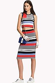 타미 힐피거 Tommy Hilfiger Multi Stripe Pencil Skirt,CLASSIC WHITE BLACK BEAUTY