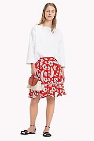 타미 힐피거 Tommy Hilfiger Island Floral Skirt,TROPICAL PRINT/ FIESTA