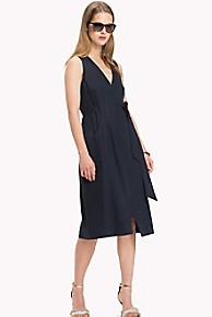타미 힐피거 Tommy Hilfiger Wrap Midi Dress,MIDNIGHT