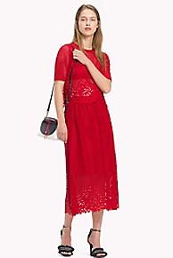 타미 힐피거 Tommy Hilfiger Laser Cut Lace Midi Skirt,POMPEIAN RED