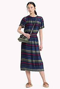 타미 힐피거 Tommy Hilfiger Pleated Stripe Midi Skirt,ALL OVER STP