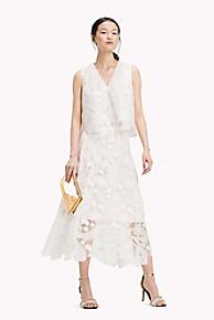 타미 힐피거 Tommy Hilfiger Island Lace Midi Skirt,SNOW WHITE