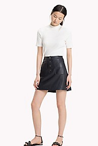 타미 힐피거 Tommy Hilfiger Vintage Leather Skirt,MIDNIGHT