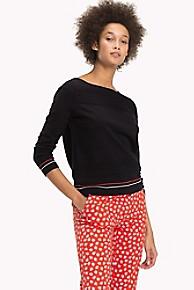 타미 힐피거 Tommy Hilfiger Stitch Stripe Sweater,BLACK BEAUTY
