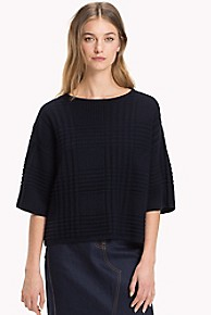 타미 힐피거 Tommy Hilfiger Textured Stitch Sweater,MIDNIGHT