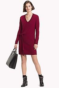 타미 힐피거 Tommy Hilfiger V-Neck Sweater Dress,CABERNET