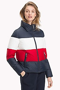 타미 힐피거 컬러블록 푸퍼 숏패딩 Tommy Hilfiger Colorblock Down Puffer,MIDNIGHT/ APPLE RED/ CLASSIC WHITE