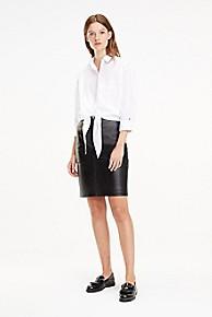 타미 힐피거 Tommy Hilfiger Leather Pencil Skirt,BLACK BEAUTY