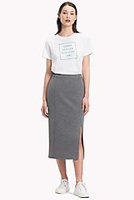타미 힐피거 Tommy Hilfiger Soft Structure Skirt,MEDIUM GREY HTR