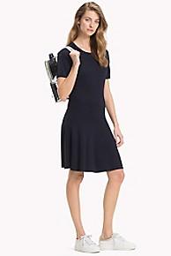타미 힐피거 Tommy Hilfiger Lace Shoulder Dress,MIDNIGHT