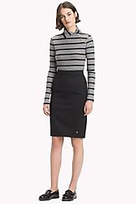 타미 힐피거 Tommy Hilfiger Stretch Wool Pencil Skirt,BLACK BEAUTY