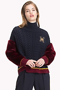 타미 힐피거 Tommy Hilfiger Tommy Icons Chunky Sweater,MIDNIGHT / CABERNET