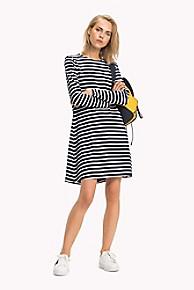 타미 힐피거 Tommy Hilfiger Long-Sleeve Laced Eyelet Stripe Dress,SKY CAPTAIN STRIPE