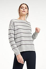 타미 힐피거 Tommy Hilfiger Stripe Crewneck Sweater,LIGHT GREY HEATHER