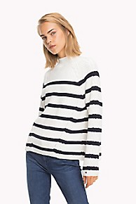 타미 힐피거 우먼 스웨터 Tommy Hilfiger Mockneck Sweater,SNOW WHITE / SKY CAPTAIN