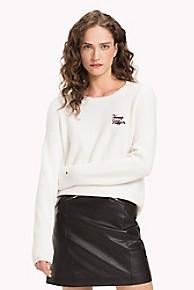 타미 힐피거 Tommy Hilfiger Script Logo Sweater,SNOW WHITE