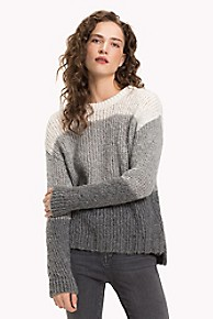 타미 힐피거 Tommy Hilfiger Tonal Colorblock Sweater,SNOW WHITE/ LIGHT GREY HEATHER