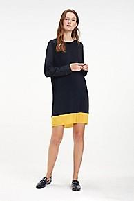 타미 힐피거 Tommy Hilfiger Pleated Crepe Colorblock Dress,SKY CAPTAIN / SUNSHINE YELLOW