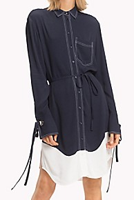 타미 힐피거 Tommy Hilfiger Laced Eyelet Long-Sleeve Shirt Dress,MIDNIGHT