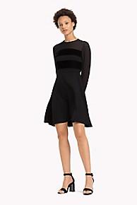타미 힐피거 Tommy Hilfiger Velvet Stripe Dress,BLACK BEAUTY