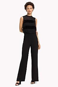 타미 힐피거 Tommy Hilfiger Velvet Stripe Jumpsuit,BLACK BEAUTY
