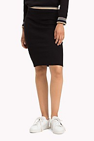 타미 힐피거 Tommy Hilfiger Reversible Shimmer Stripe Knit Skirt,BLACK BEAUTY