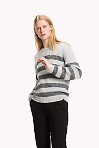 타미 힐피거 Tommy Hilfiger Shimmer Stripe Crewneck Sweater,LIGHT GREY/ SILVER METALLIC