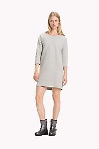 타미 힐피거 Tommy Hilfiger Textured Jersey Dress,LIGHT GREY HEATHER