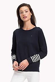 타미 힐피거 Tommy Hilfiger Stripe Sleeve Sweater,SKY CAPTAIN MULTI
