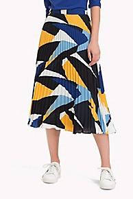 타미 힐피거 Tommy Hilfiger Pleated Graphic Print Midi Skirt,PAINTED COLORBLOCK