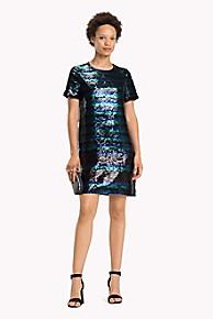 타미 힐피거 Tommy Hilfiger Sequin Stripe Dress,SEQUIN STRIPE/ BLACK BEAUTY