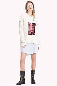타미 힐피거 Tommy Hilfiger Tommy Icons Crest Sweater,SNOW WHITE