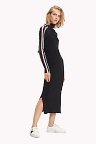 타미 힐피거 Tommy Hilfiger Tommy Icons Midi Dress,BLACK BEAUTY