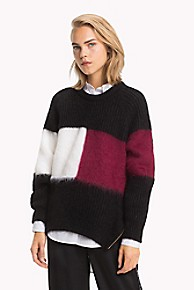 타미 힐피거 Tommy Hilfiger Tommy Icons Flag Sweater,BLACK BEAUTY MULTI