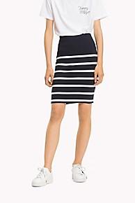타미 힐피거 Tommy Hilfiger Stripe Pencil Skirt,MIDNIGHT/ SNOW WHITE