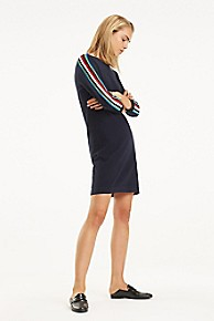 타미 힐피거 Tommy Hilfiger Stripe Sleeve Sweater Dress,MIDNIGHT