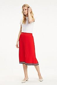 타미 힐피거 Tommy Hilfiger Pleated Midi Skirt,TRUE RED