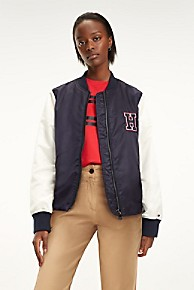 타미 힐피거 우먼 보이프렌드 자켓 Tommy Hilfiger Boyfriend Varsity Jacket,MIDNIGHT / SNOW WHITE